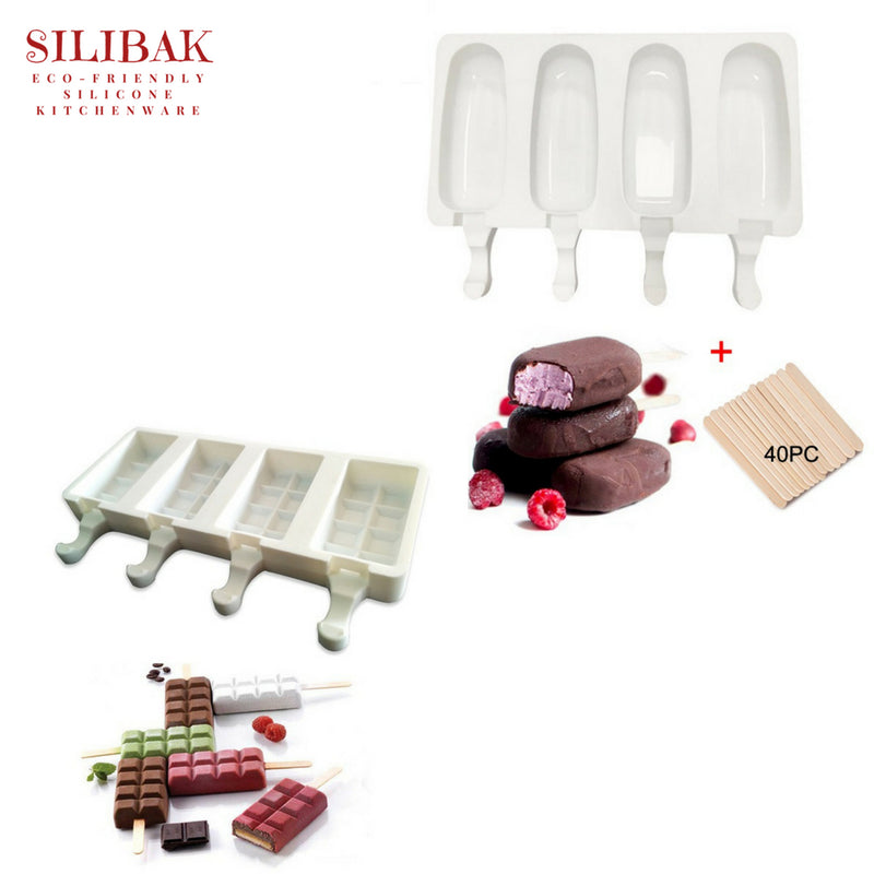 4 CAVITIES ECO-FRIENDLY SILICONE ICE CREAM & POPSICLE MOLD + 40 WOODEN STICKS ( 3 SIZES) - SILIBAK