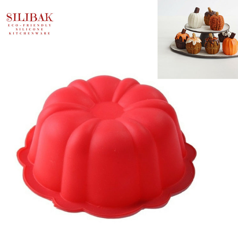 EASY FLEXIBLE 3D 4.5'' PUMPKIN SHAPE ECO-FRIENDLY SILICONE MINI CAKE MOLD - SILIBAK