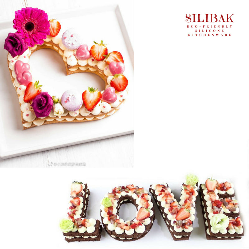HEARTS & LOVE ECO-FRIENDLY THICK ACRYLIC STENCIL CAKE KITS - SILIBAK