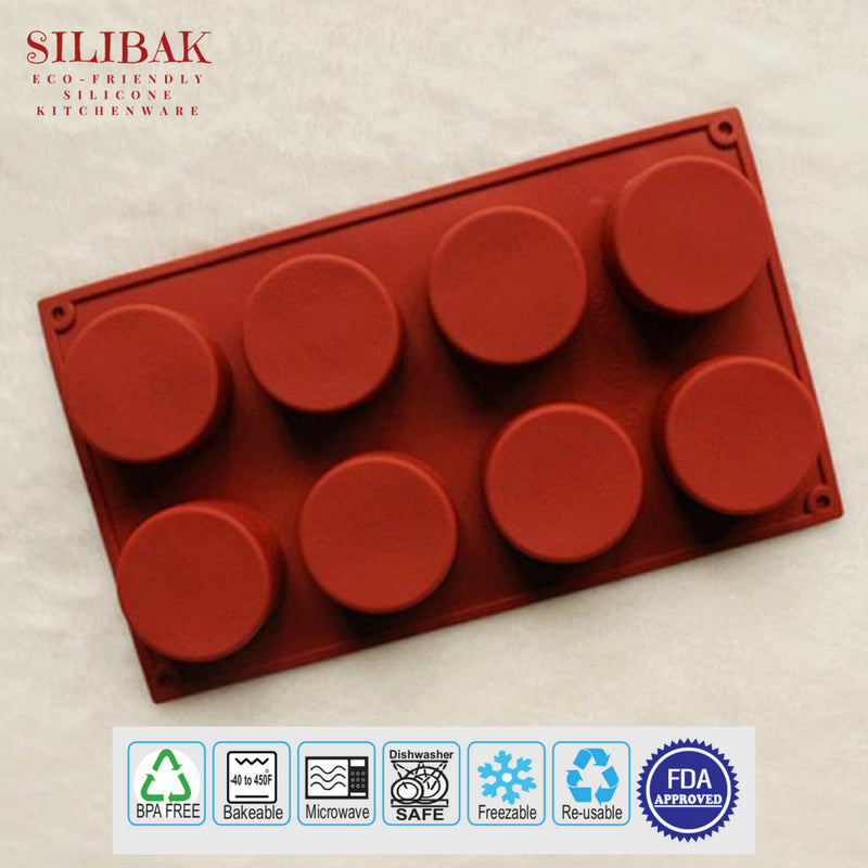 EASY FLEXIBLE 8 CAVITIES ROUND SHAPE ECO-FRIENDLY SILICONE MOLD - SILIBAK