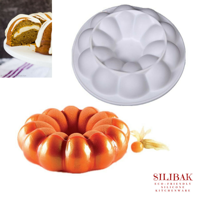 EASY FLEXIBLE AMAZING 3D PUMPKIN SHAPE ECO-FRIENDLY SILICONE CAKE MOLD - SILIBAK
