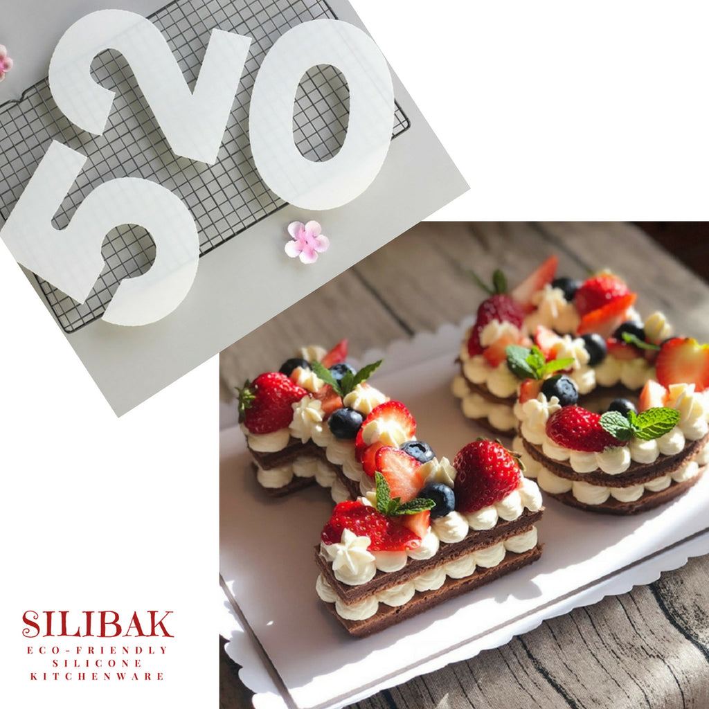 4'' TO 12'' ECO-FRIENDLY ACRYLIC NUMBERS STENCILS SET FOR COOKIES & CAKES CREATIONS - SILIBAK