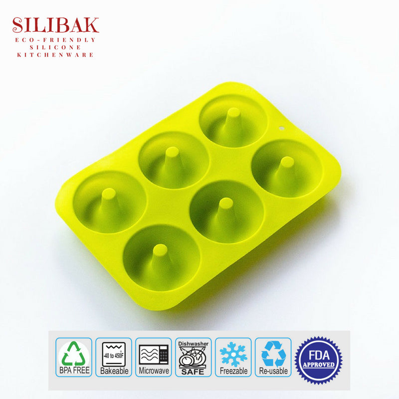 EASY FLEXIBLE ECO-FRIENDLY SILICONE 6 HOLES DONUTS MOLD - SILIBAK