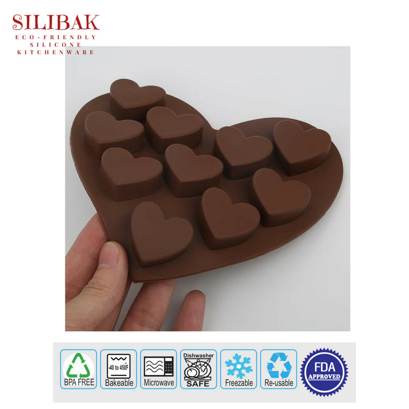 10 CAVITIES EASY FLEXIBLE ECO-FRIENDLY SILICONE HEART SHAPE PAN MOLD - SILIBAK