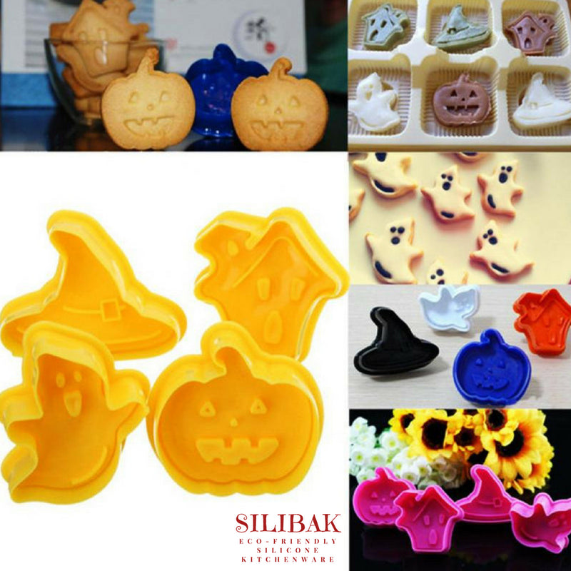 4 PCS/SET EASY ECO-FRIENDLY HALLOWEEN COOKIE CUTTERS KIT - SILIBAK