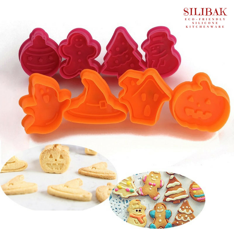 8 PCS/SET EASY ECO-FRIENDLY HALLOWEEN & CHRISTMAS COOKIE CUTTERS KIT - SILIBAK