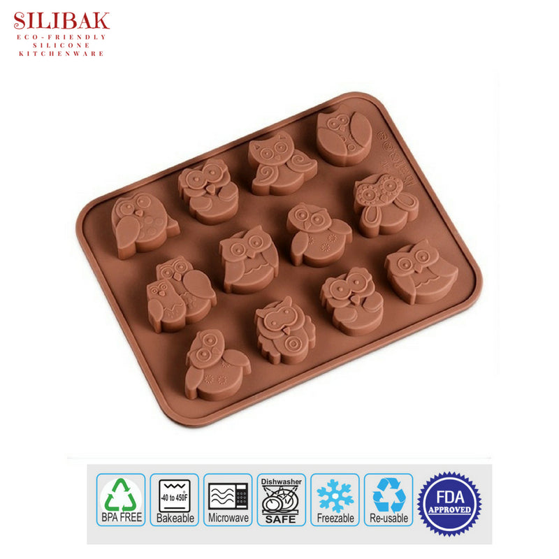 EASY FLEXIBLE ECO-FRIENDLY 3D SILICONE OWLS MOLD ( 12 CAVITIES) - SILIBAK