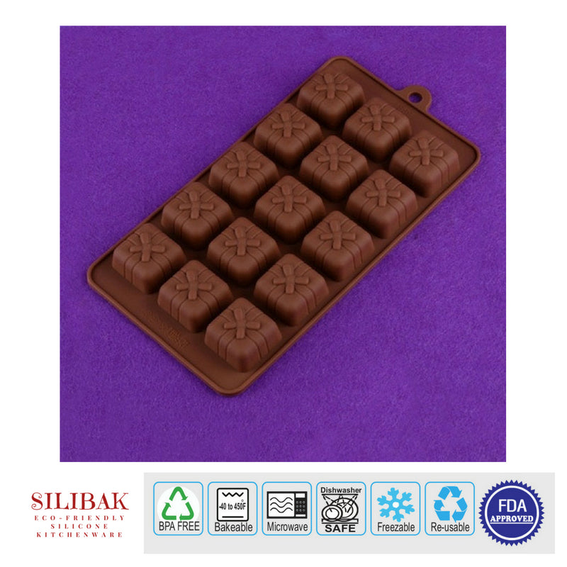 EASY FLEXIBLE ECO-FRIENDLY 3D SILICONE SQUARE X MOLD (15 CAVITIES) - SILIBAK
