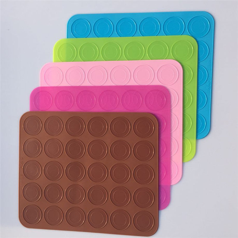 NEW! 30-Cavity Eco-Friendly Silicone Macarons & Cookies Baking Mat