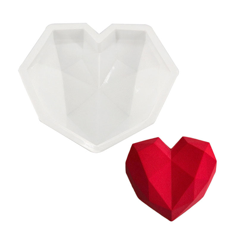 EASY 3D DIAMOND HEART SHAPE ECO-FRIENDLY SILICONE CAKE MOLD - SILIBAK
