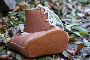 Rain + Conker Vinatge Tan Leather Boot Moccasins - rockababy
