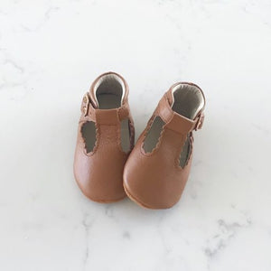 Rain + Conker Vintage Tan Leather T-Bar | Soft Sole | - rockababy