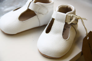 Rain + Conker White Leather T-Bar | Soft Sole | - rockababy