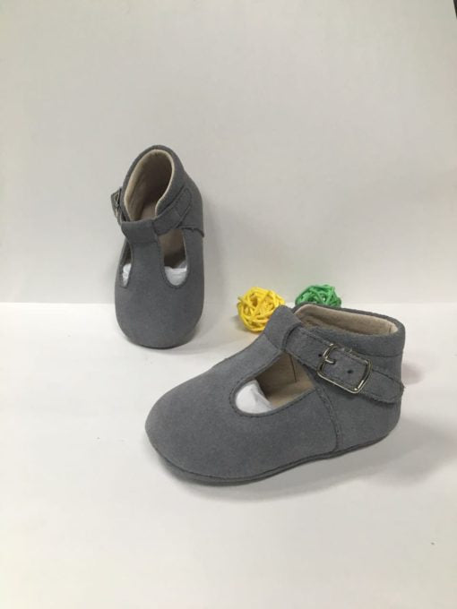 Rain + Conker Grey Suede T-bar – Soft Sole – - rockababy