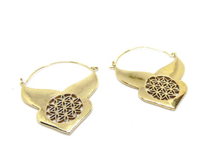 Brass Flower of Life Sacred Geometry Earrings