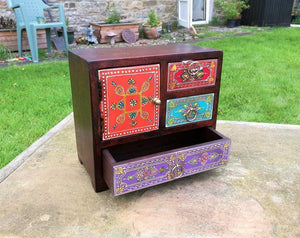 Fair Trade Hand Painted 3 Drawer 1 Door Chest, Jewellery Storage