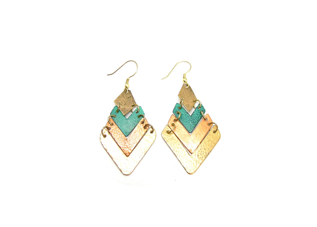 Teal and Copper V Shaped Tier Earrings