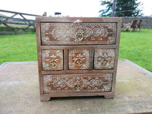 Natural Wooden 5 Drawer Chest, Fair Trade Trinket Box, Made in India, Available at wildflowertrading.com