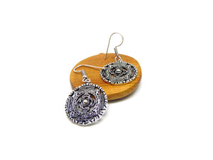 Silver Metal Tribal Design Earrings