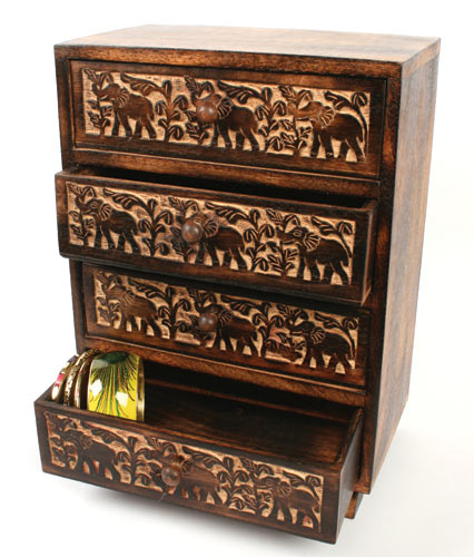 Elephant Carved Wooden 4 Drawer Chest