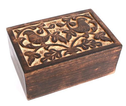 Mango Wood Carved Bird Design Box