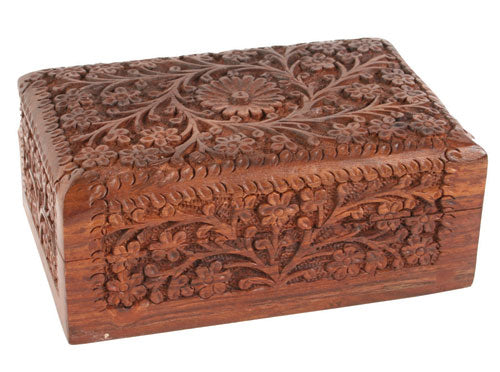 Small Carved Floral Wooden Box