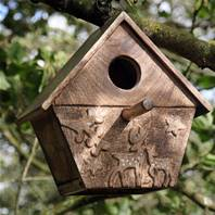 Wooden Bird Box, Deer Carving