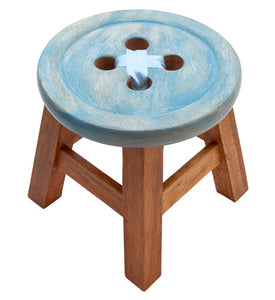 Blue Button Stool
