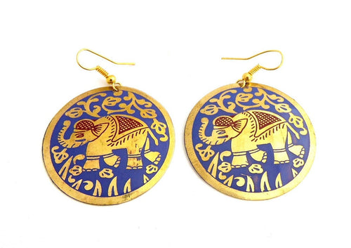 Purple Brass Elephant Round Disc Earrings