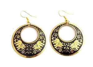 Round Crescent Black and Gold Elephant Earrings