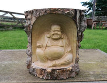 Chinese Laughing Buddha in Tree Carving