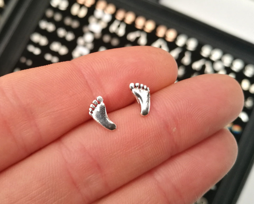 Feet Sterling Silver Stud Earrings