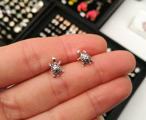 Tortoise Sterling Silver Stud Earrings