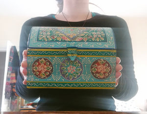 Hand Painted Domed Chest Box, Turquoise