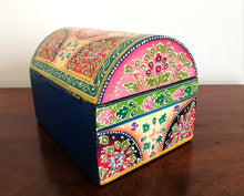 Hand Painted Domed Chest Box, Lime Green and Red