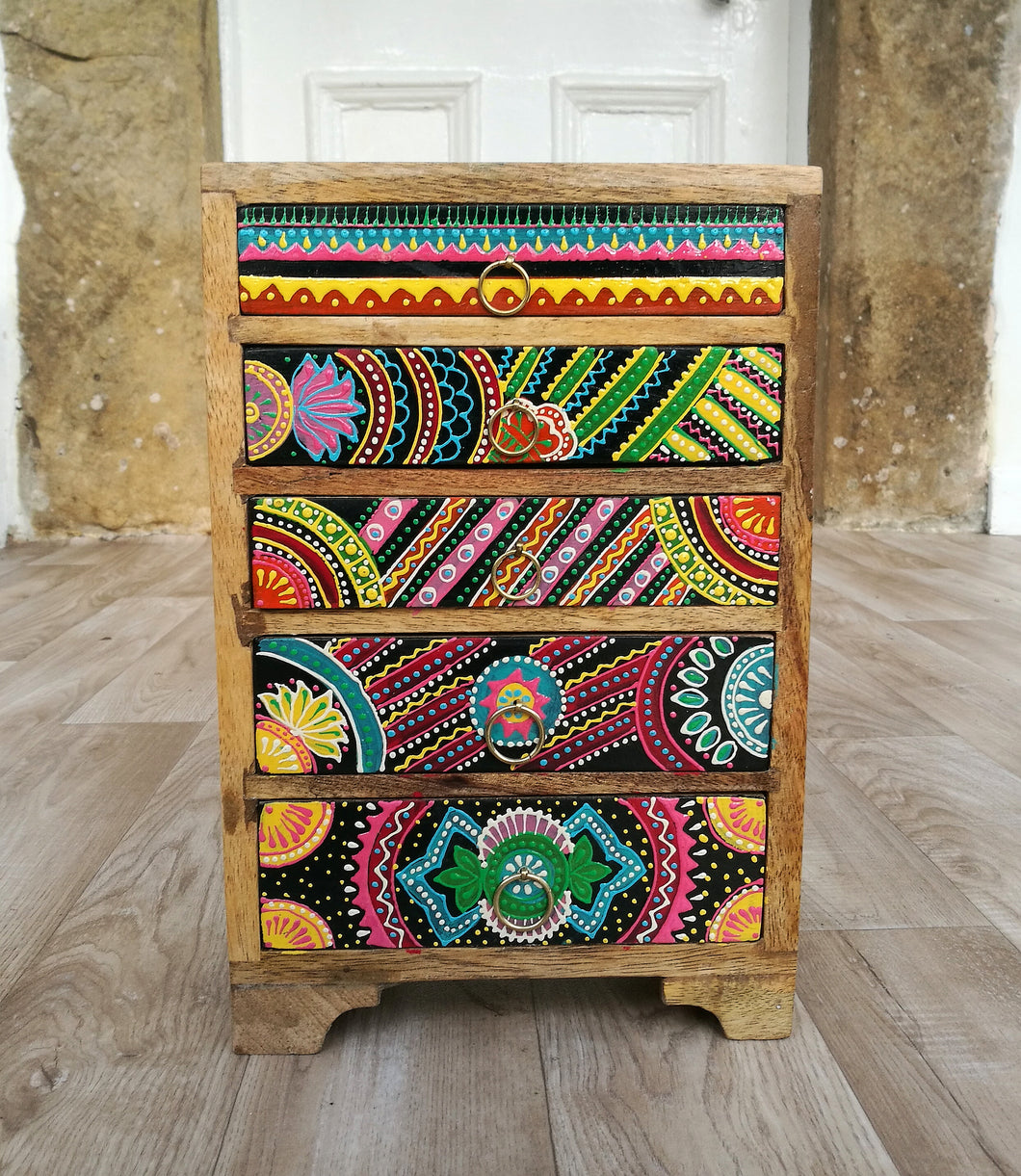 Hand Painted African Style 5 Drawer Chest of Drawers