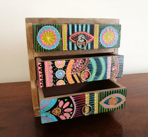 Hand Painted African Style 3 Drawer Chest of Drawers