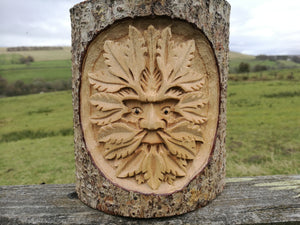 Green Man in Wood Tree Carving