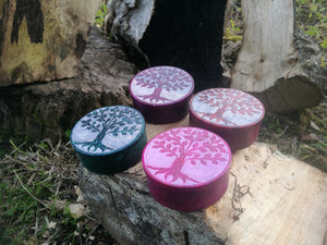 Tree of Life Handcarved Soapstone Box ~ Choice of 4 colours