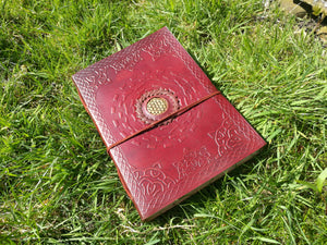 Large Leather Journal with Brass Flower of Life