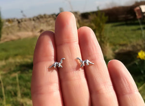 Dinosaur Sterling Silver Stud Earrings