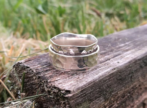 Spinner Ring Silver Hammered