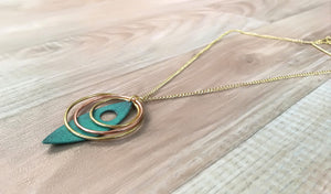 Turquoise Leaf Necklace with Copper and Brass Hoops