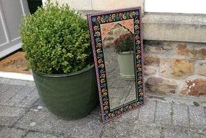 Mirror Hand Painted Black Floral Indian