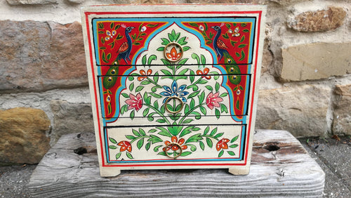 Handpainted Peacock Floral Indian Chest of Drawers