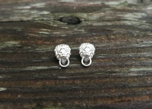 Lion Head Door Knocker Silver Stud Earrings