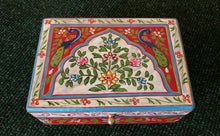 Bohemian Peacock Floral Hand Painted Lidded Box