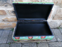 Hand Painted Turquoise Floral Hinged Box