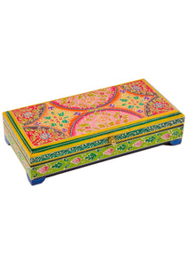 Hand Painted Green and Orange Hinged Wooden Box
