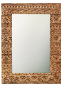 Mirror Hand Carved Aztec Style
